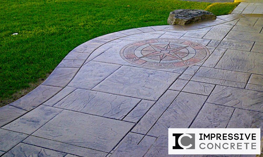 Impressive Concrete - Concrete Designs Portfolio - 001 - Stamped Concrete Yorkstone Pattern Compass Two Color
