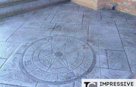 Impressive Concrete - Concrete Designs Portfolio - 002 - Stamped Concrete Yorkstone Pattern Compass