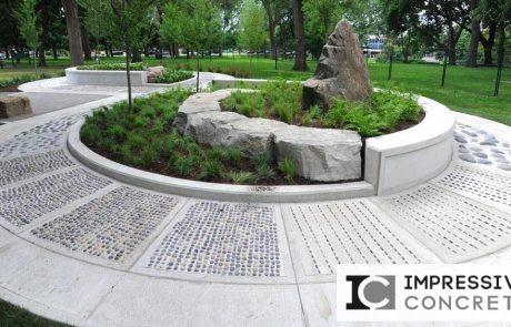 Impressive Concrete - Concrete Designs Portfolio - 004 - Broom Finish Concrete Random Pepples Reflexology Foot Path