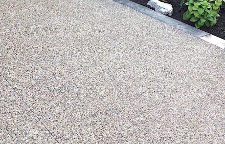 Impressive Concrete - Concrete Driveways Portfolio - 006 - Exposed Aggregate Concrete Driveway, Stamped Concrete Border, Two Colors