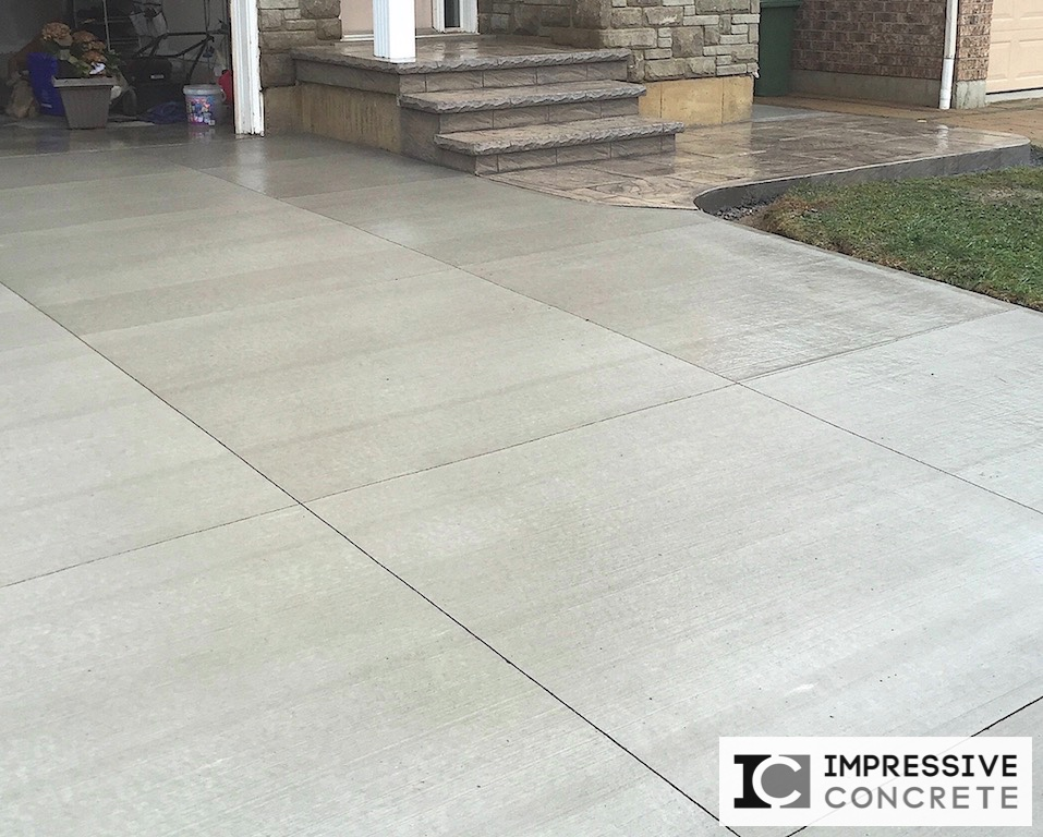 Impressive Concrete - Concrete Driveways Portfolio - 007 - Regular Concrete Broom Finish Driveway, Stamped Concrete Yorkstone Pattern Walkway