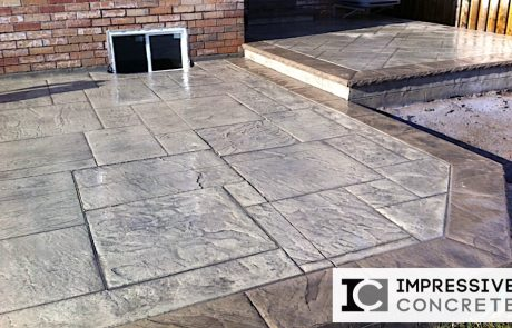 Impressive Concrete - Concrete Patios Portfolio - 001- Stamped Concrete Yorkstone Pattern Two Colors Patio