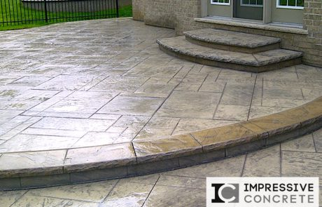 Impressive Concrete - Concrete Patios Portfolio - 002 - Stamped Concrete Yorkstone Pattern Two Colors Patio