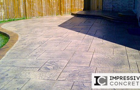 Impressive Concrete - Concrete Patios Portfolio - 004 - Stamped Concrete Yorkstone Pattern Two Colors Patio