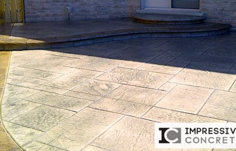 Impressive Concrete - Concrete Patios Portfolio - 007 - Stamped Concrete Yorkstone Pattern Two Colors Patio