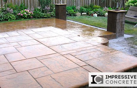 Impressive Concrete - Concrete Patios Portfolio - 008 - Stamped Concrete Yorkstone Pattern Two Colors Patio, Concrete Pillars