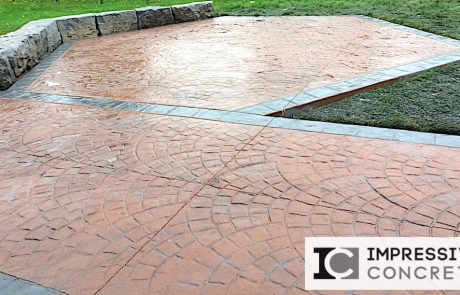 Impressive Concrete - Concrete Patios Portfolio - 011 - Stamped Concrete European Fan Pattern, Two Colors Patio