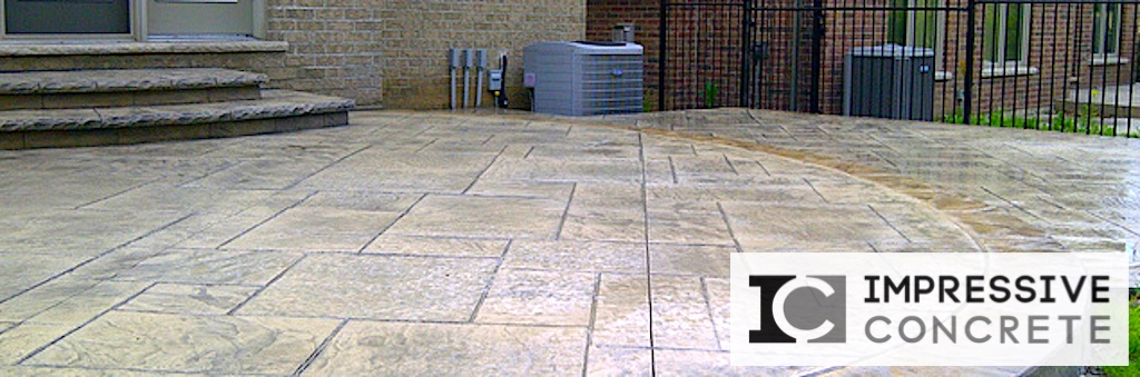Impressive Concrete - Concrete Patios Portfolio - 017 - Stamped Concrete Yorkstone Pattern Two Colors Patio