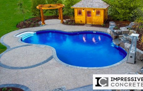 Impressive Concrete - Concrete Pool Decks Portfolio - 001 - Exposed Aggregate Concrete Pool Deck, Stamped Concrete Border