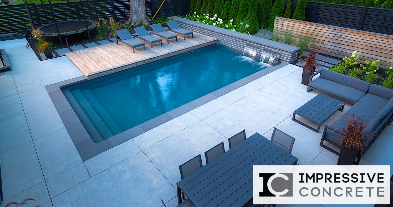 Concrete pool decks portfolio impressive concrete for Pool deck ideas made from concrete