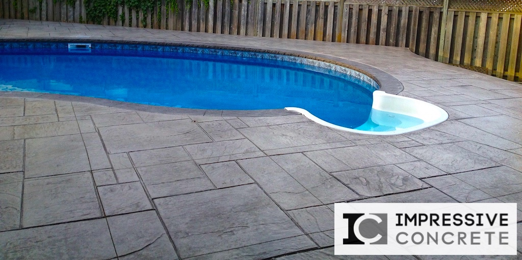 Impressive Concrete - Concrete Pool Decks Portfolio - 008 - Stamped Concrete Yorkstone Pattern Pool Deck, Two Colors, Chisel Bullnose