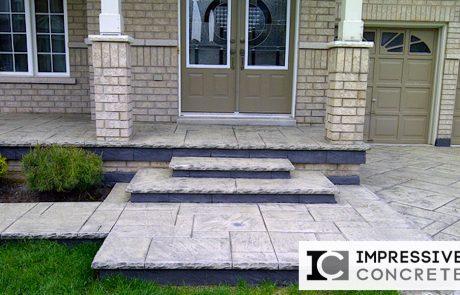 Impressive Concrete - Concrete Steps Portfolio - 001 - Stamped Concrete Yorkstone Pattern Steps, Two Colors, Chisel Bullnose