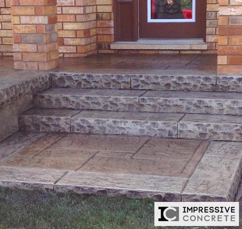 Impressive Concrete - Concrete Steps Portfolio - 002 - Stamped Concrete Yorkstone Pattern Steps, Two Colors, Chisel Face Bullnose