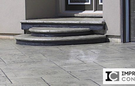 Impressive Concrete - Concrete Steps Portfolio - 003 - Stamped Concrete Yorkstone Pattern Steps, Two Colors, Bullnose