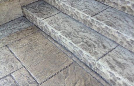 Impressive Concrete - Concrete Steps Portfolio - 004 - Stamped Concrete Yorkstone Pattern Steps, Two Colors, Chisel Face Bullnose