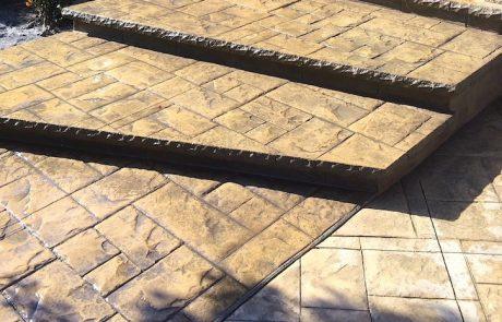 Impressive Concrete - Concrete Steps Portfolio - 006 - Stamped Concrete Ashler Slate Pattern Steps, Chisel Bullnose