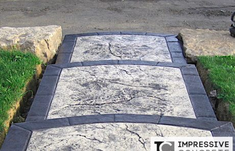 Impressive Concrete - Concrete Steps Portfolio - 008 - Stamped Concrete Skins Pattern, Steps, Two Color, Bullnose
