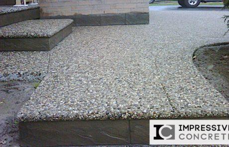 Impressive Concrete - Concrete Steps Portfolio - 009 - Exposed Aggregate Concrete Walkway, Round Bullnose, Stamped Concrete Faces