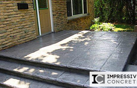 Impressive Concrete - Concrete Steps Portfolio - 010 - Stamped Concrete Yorkstone Pattern Steps, Two Colors, Bullnose
