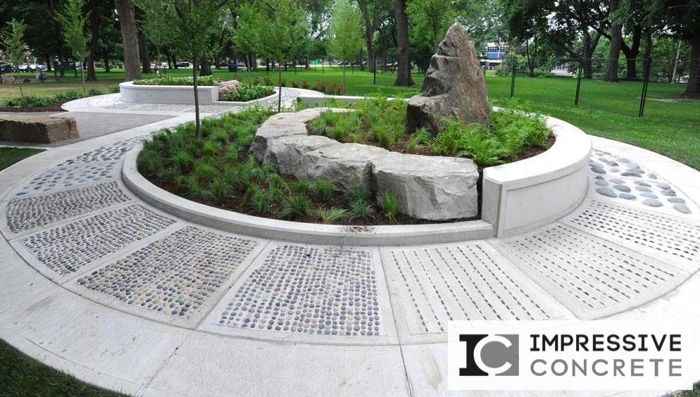 Impressive Concrete - Concrete Walkways Portfolio - 003 - Regular Concrete, Broom-Finish concrete, Random Pepples, Reflexology Footpath Based