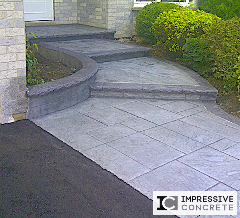 Impressive Concrete - Concrete Walkways Portfolio - 004 - Stamped Concrete Yorkstone Pattern Two Color Walkway, Chisel Bullnose