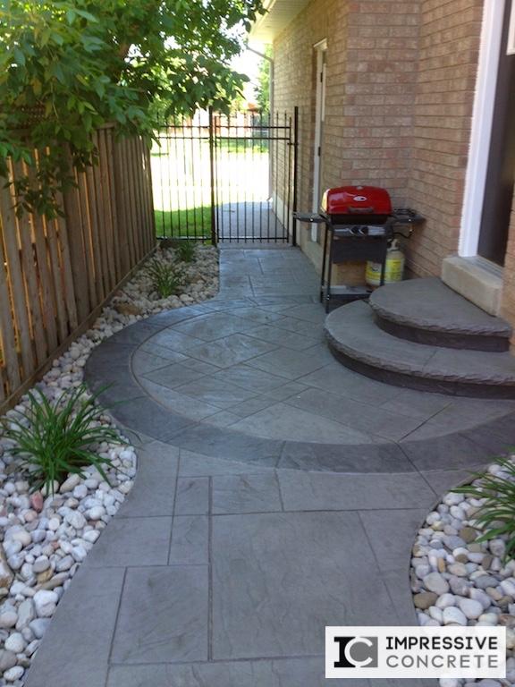Impressive Concrete - Concrete Walkways Portfolio - 005 - Stamped Concrete Yorkstone Pattern Two Color Walkway