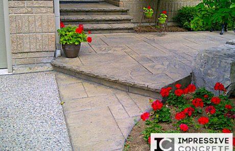 Impressive Concrete - Concrete Walkways Portfolio - 007 - Stamped Concrete Yorkstone Pattern Walkway, Chisel Bullnose