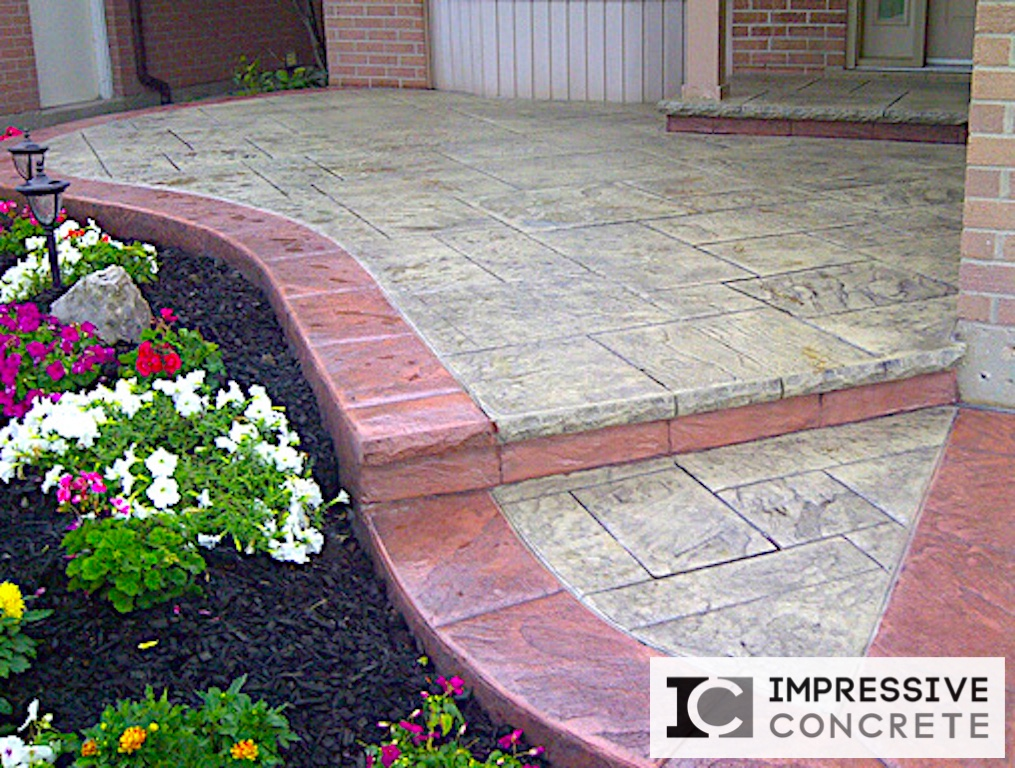 Impressive Concrete - Concrete Walkways Portfolio - 010 - Stamped Concrete Yorkstone Pattern Two Color Walkway, Chisel Bullnose