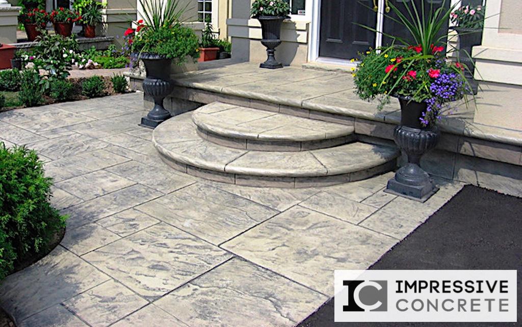 Impressive Concrete - Concrete Walkways Portfolio - 013 - Stamped Concrete Yorkstone Pattern Walkway, Bullnose