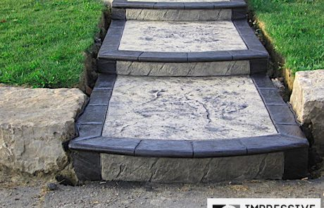 Impressive Concrete - Concrete Walkways Portfolio - 014 - Stamped Concrete Skins Pattern Walkway, Two Color, Bullnose