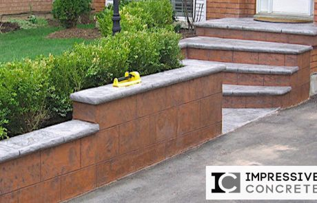 Impressive Concrete - Concrete Walls Portfolio - 001 - Stamped Concrete Yorkstone Pattern Wall, Bullnose, Two-Color
