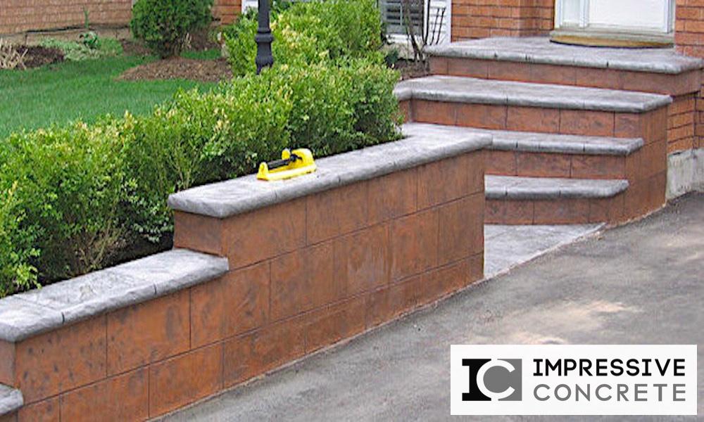 Impressive Concrete - Concrete Walls Portfolio - 001 - Stamped Concrete Yorkstone Pattern Wall, Bullnose, Two-Color
