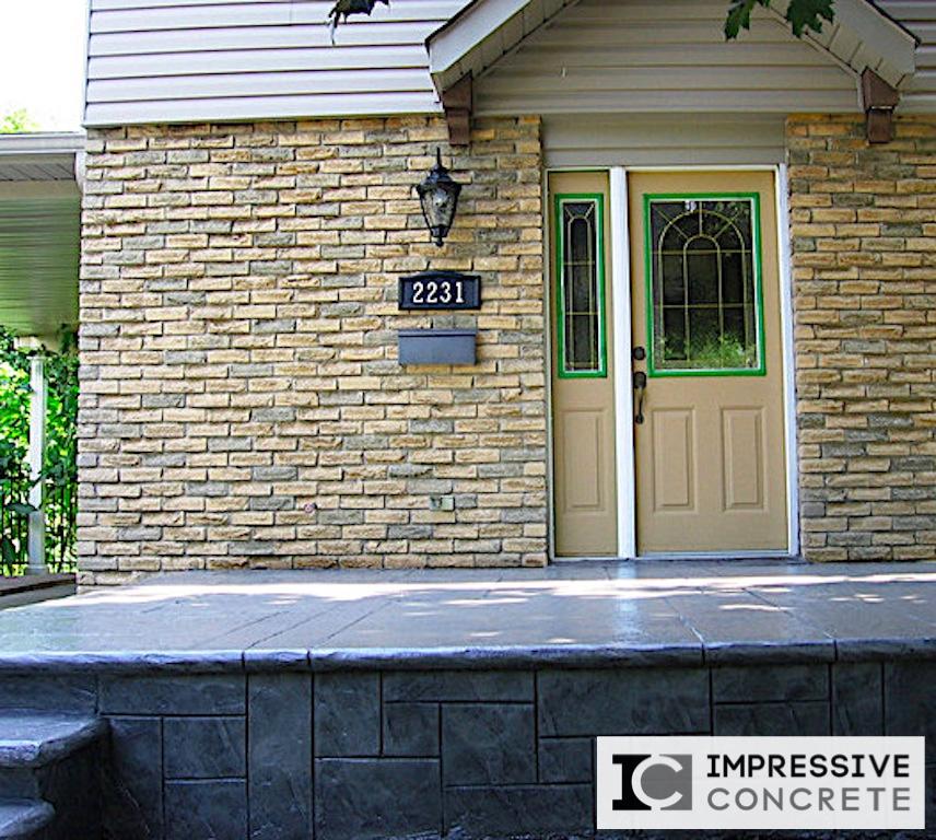 Impressive Concrete - Concrete Walls Portfolio - 003 - Stamped Concrete Yorkstone Pattern Wall, Bullnose