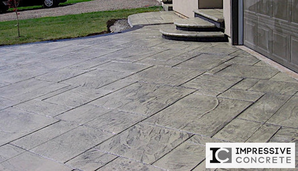 Impressive Concrete Portfolio - Concrete Driveways - 005 - Stamped Concrete Yorkstone Pattern Two Colors Driveway